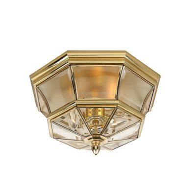 Quoizel Newbury Outdoor Flush Mount in Polished Brass