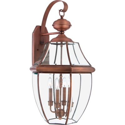 Quoizel Newbury Outdoor Extra-Large Wall Lantern in Aged Copper