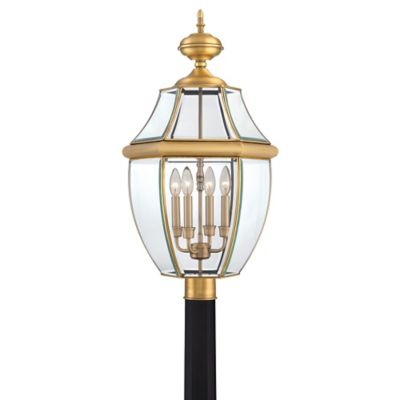 Quoizel Newbury Outdoor Extra-Large Post Lantern in Antique Brass