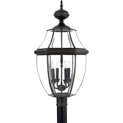 Quoizel Newbury Outdoor Extra-Large Post Lantern in Medici Bronze