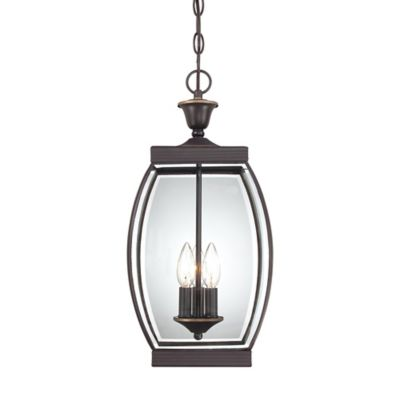 Quoizel Oasis Ceiling Mount Outdoor Hanging Lantern in Medici Bronze