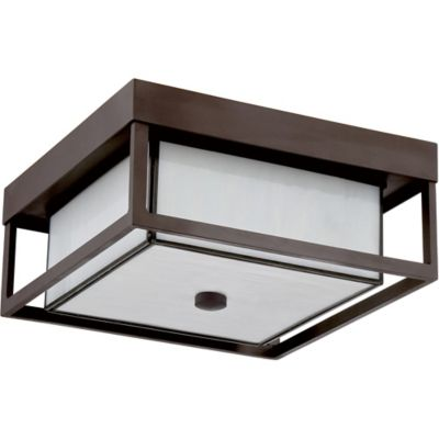 Quoizel Powell Flush Mount Outdoor Ceiling Lamp in Western Bronze