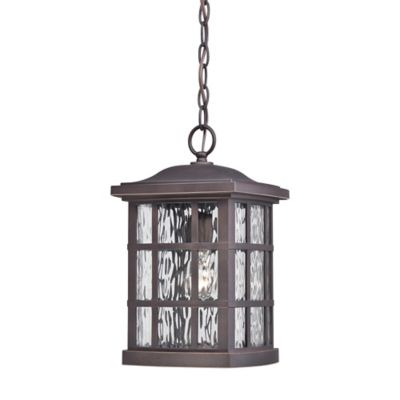 Quoizel Stonington Ceiling Mount Outdoor Hanging Lantern in Palladian Bronze