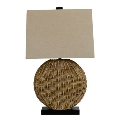 Oval Rattan Table Lamp in Brown with CFL Bulb