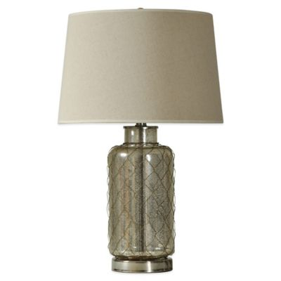Mercury Glass Netting Table Lamp in Silver