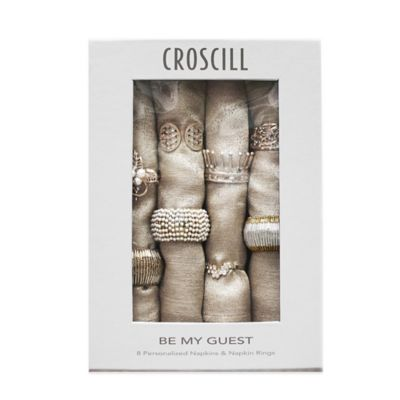 Croscill® Be My Guest 16-Piece Ring and Napkin Set in Silver