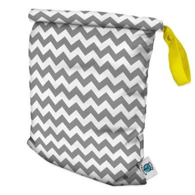 Planet Wise Medium Roll-Down Wet Bag in Grey Chevron