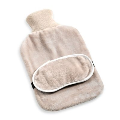 Hot Water Bottle and Eye Mask Set in Tan Plush