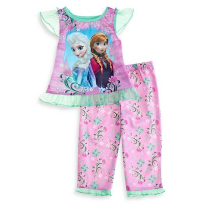 Disney® Frozen Size 2T 2-Piece Flower Pajama Set in Pink/Green