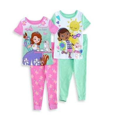 Disney® Sofia the First and Doc McStuffins Size 2T 4-Piece Pajama Set in Pink/Green