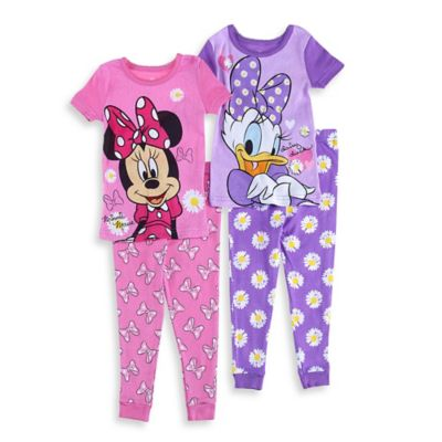 Disney® Size 4T 4-Piece Minnie Mouse and Daisy Duck Pajama Set in Pink/Purple