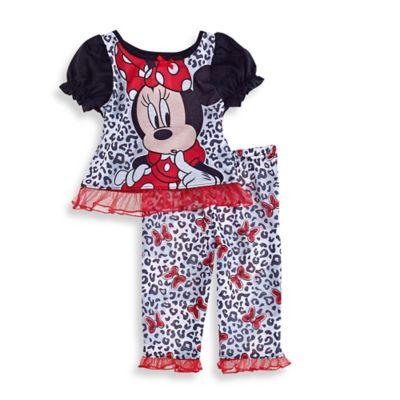 Disney® Minnie Mouse Size 12M 2-Piece Ruffle PJ Set