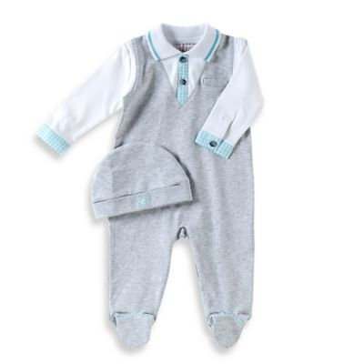 Uptown Size 6M Footed Coverall with Built-In Shirt in Grey/Aqua/White