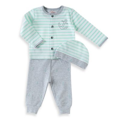 Uptown 3-Piece Size 9M Anchor Cardigan, Pant, and Hat Take Me Home Set in Aqua/Grey