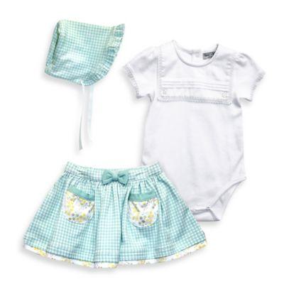 Harry & Violet Size 3-6M 3-Piece Bodysuit, Skirt, and Bonnet Set