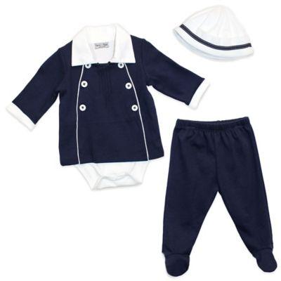 Harry & Violet Size 6-9M 3-Piece Nautical Bodysuit, Pant and Hat Set