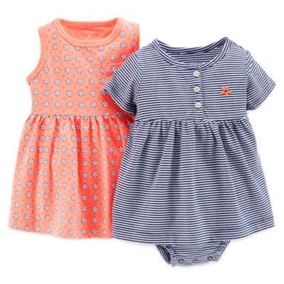 Carter's® Size 9M 3-Piece Dress and Diaper Cover Set in Coral Flower/Blue Stripe