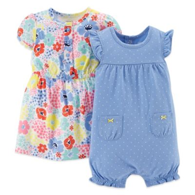 Carter's® Size 18M 3-Piece Dress, Diaper Cover and Romper Set in Multicolor Floral/Blue Dot
