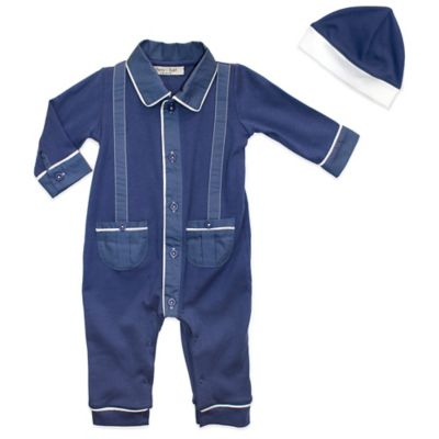 Harry & Violet Size 3-6M 2-Piece Footless Coverall and Hat Set in Blue