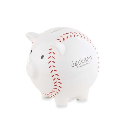 Mud Pie® 2-Piece Baseball Piggy Bank Set in White