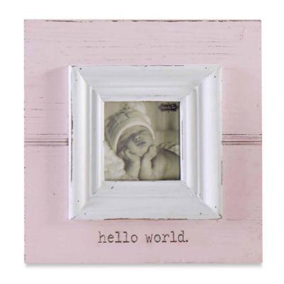 """Mud Pie® """"Hello World"""" Photo Frame in Pink"""