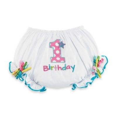 "Mud Pie® ""1st Birthday"" Bloomer in White/Pink"