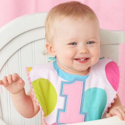 "Mud Pie® ""1st"" Birthday Girl Bib in Pink/White"