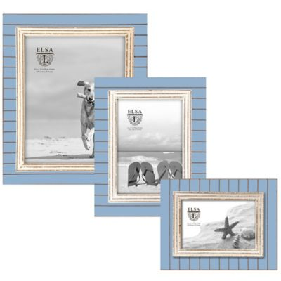 Elsa L Coastal 5-Inch x 7-Inch Picture Frame in Blue/White