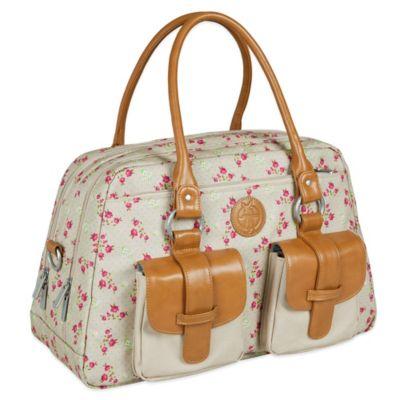 Lassig Rosebud Fairytales Vintage Metro Diaper Bag in Beige/Pink