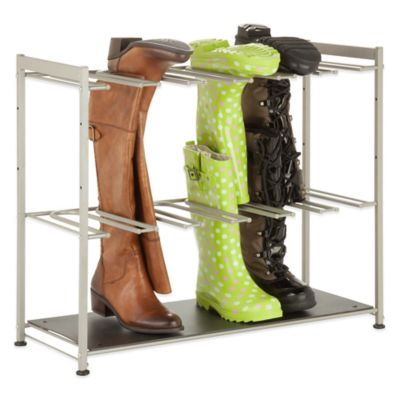 Honey-Can-Do® 6-Pair Boot Rack in Silver/Black