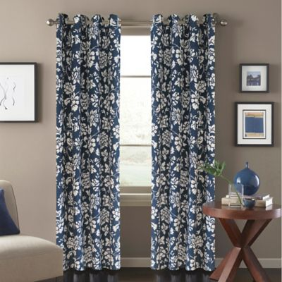 Blue Floral Panel Curtains