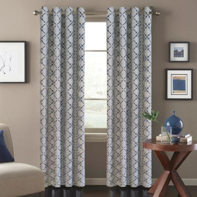 Tile Scroll 108-Inch Window Curtain Panel in Blue