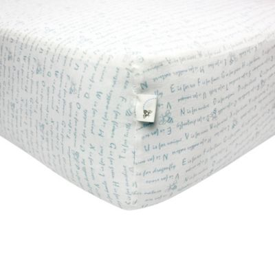 Burt's Bees Baby® Alphabet Bee 100% Organic Cotton Fitted Crib Sheet in Sky