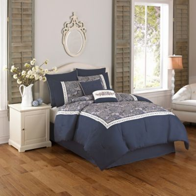Olivia 8-Piece Full Comforter Set in Blue