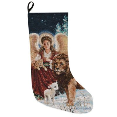 Angel Lion Lamb Tapestry Holiday Stocking