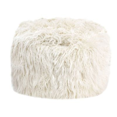 Mongolian Faux Fur Square Pouf in Ivory