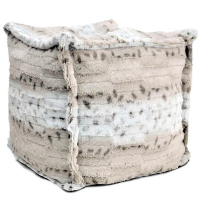 Faux Fur Square Pouf in Snow Leopard