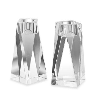 Oleg Cassini Pair Of 6'' Brigitte Crystal Candlesticks