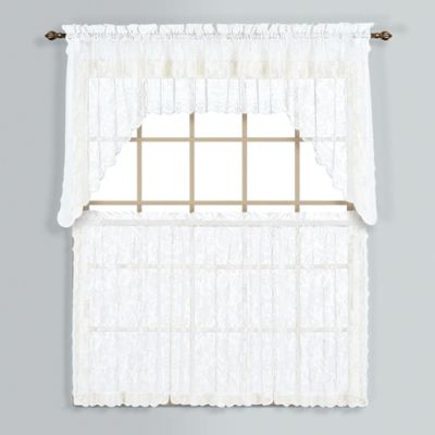 Windsor 24-Inch Lace Window Curtain Tier Pair in White