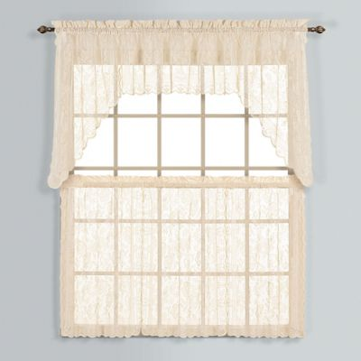 Windsor 24-Inch Lace Window Curtain Tier Pair in Natural