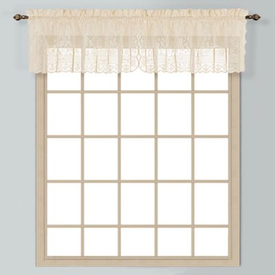 Windsor 12-Inch Lace Window Valance in White