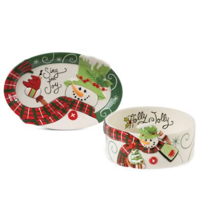 Fitz and Floyd® Holly Hat Snowman 2-Piece Sentiment Set