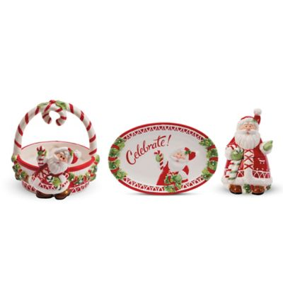 Fitz and Floyd® Candy Cane Santa Holiday Serveware Collection