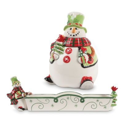 Fitz and Floyd® Holly Hat Snowman Holiday Cracker and Candy Set