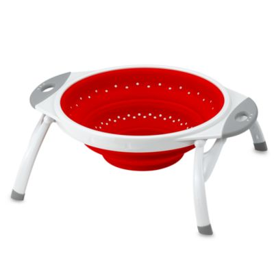 Dexas® Popware™ 2 1/2 in Quart Expandable/Collapsible Silicone Colander in Red