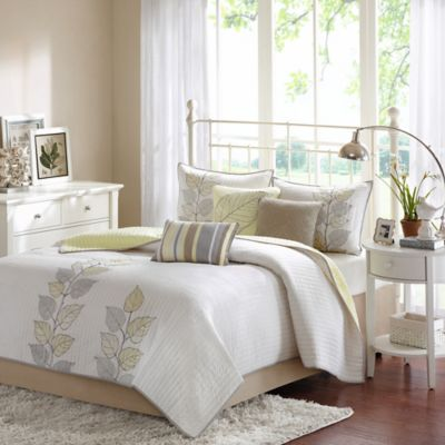 Madison Park Caelie Reversible Queen Coverlet Set in Yellow