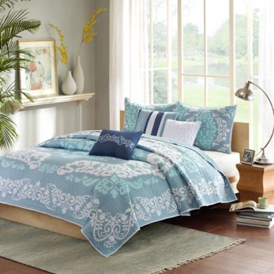 Madison Park Cameo Queen Coverlet Set in Blue