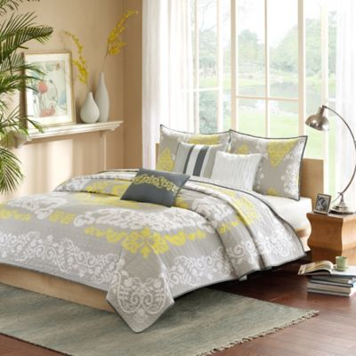 Madison Park Cameo Queen Coverlet Set in Yellow