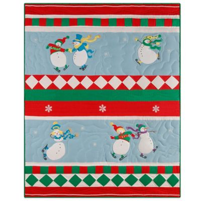 Holiday Slip Sliding Snowmen Quilted Throw Blanket