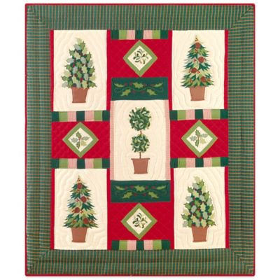 Holiday Festive Topiaries Quilted Throw Blanket